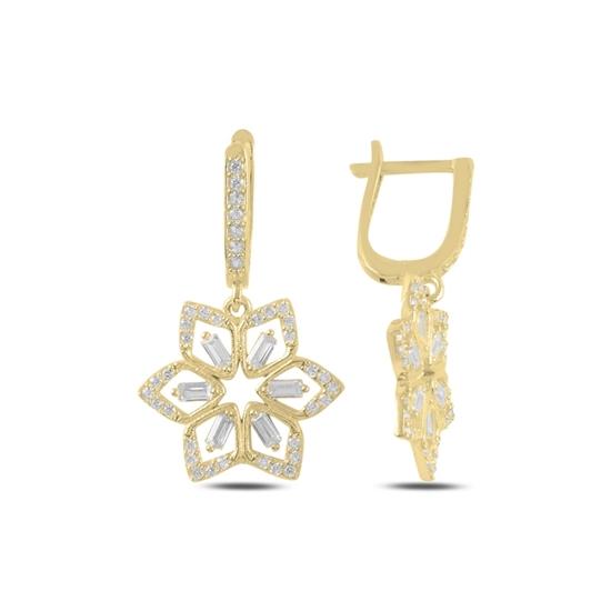 Ürün resmi: Altın Kaplama Çiçek Baget Zirkon Taşlı Gümüş Sallantılı Küpe