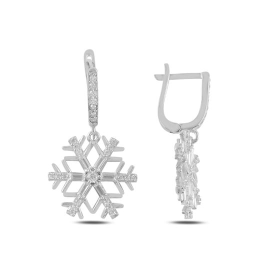 Ürün resmi: Rodyum Kaplama Kar Tanesi Baget Zirkon Taşlı Gümüş Sallantılı Küpe