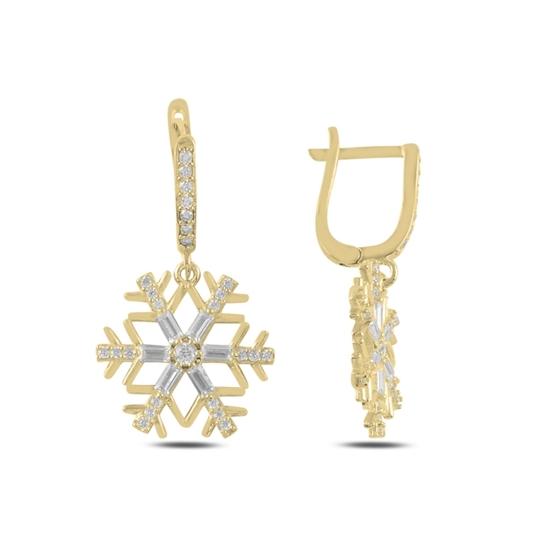 Ürün resmi: Altın Kaplama Kar Tanesi Baget Zirkon Taşlı Gümüş Sallantılı Küpe
