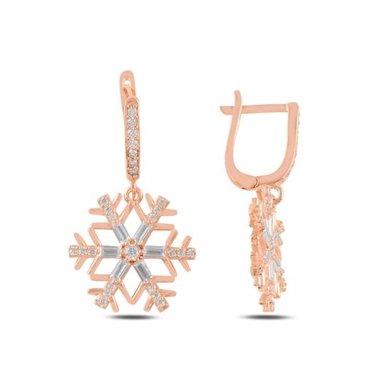 Ürün resmi: Rose Kaplama Kar Tanesi Baget Zirkon Taşlı Gümüş Sallantılı Küpe