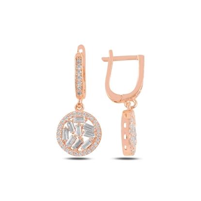 Resim Rose Kaplama Baget Zirkon Taşlı Gümüş Sallantılı Küpe