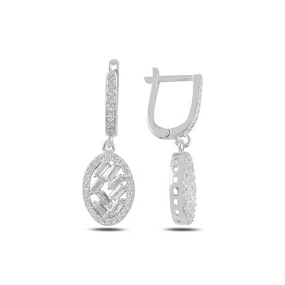 Resim Rodyum Kaplama Baget Zirkon Taşlı Gümüş Sallantılı Küpe