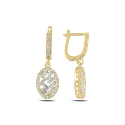 Resim Altın Kaplama Baget Zirkon Taşlı Gümüş Sallantılı Küpe