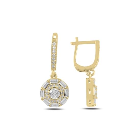 Ürün resmi: Altın Kaplama Baget Zirkon Taşlı Gümüş Sallantılı Küpe