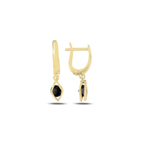 Ürün resmi: Altın Kaplama Siyah Zirkon Taşlı Gümüş Sallantılı Küpe