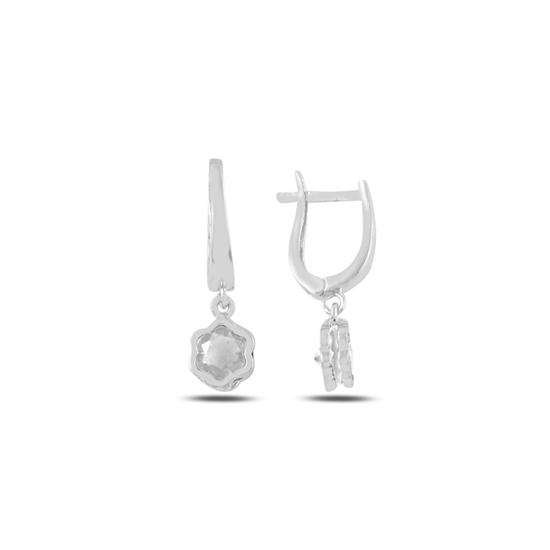 Ürün resmi: Rodyum Kaplama Zirkon Taşlı Sallantılı Papatya Gümüş Küpe
