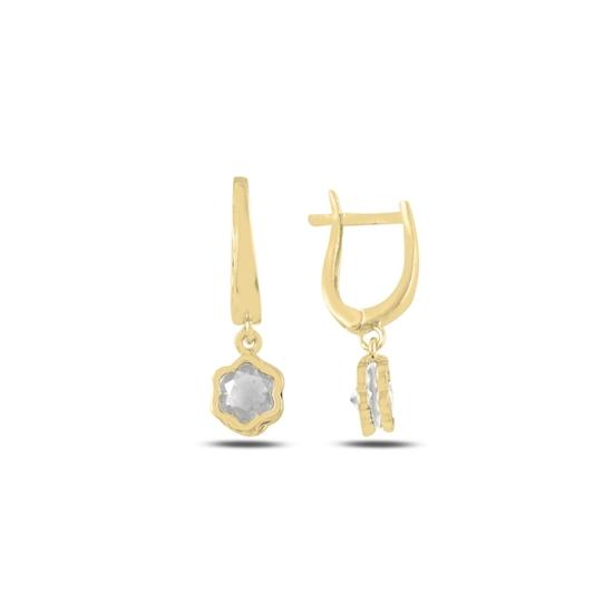 Ürün resmi: Altın Kaplama Zirkon Taşlı Sallantılı Papatya Gümüş Küpe