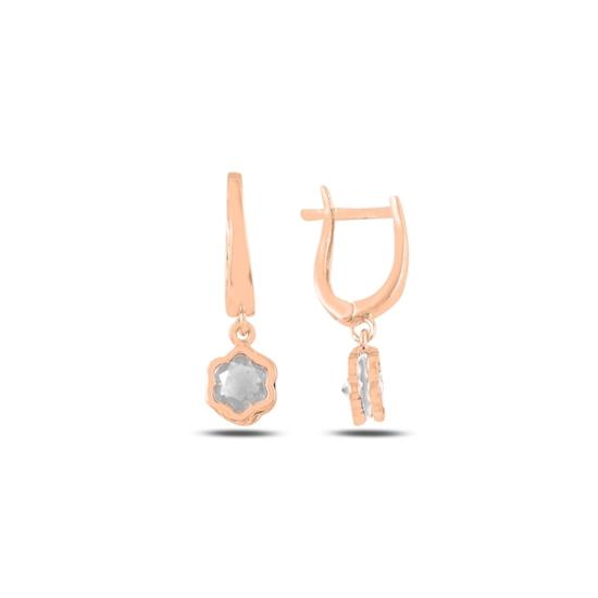 Ürün resmi: Rose Kaplama Zirkon Taşlı Sallantılı Papatya Gümüş Küpe