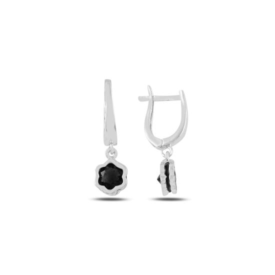 Ürün resmi: Rodyum Kaplama Siyah Zirkon Taşlı Sallantılı Papatya Gümüş Küpe