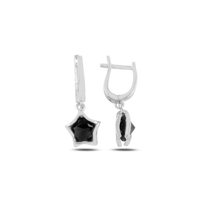 Resim Rodyum Kaplama Siyah Zirkon Taşlı Sallantılı Yıldız Gümüş Küpe