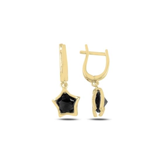 Ürün resmi: Altın Kaplama Siyah Zirkon Taşlı Sallantılı Yıldız Gümüş Küpe