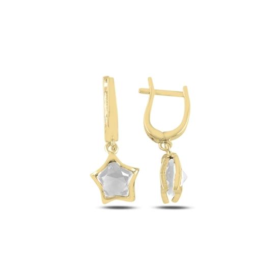 Ürün resmi: Altın Kaplama Zirkon Taşlı Sallantılı Yıldız Gümüş Küpe