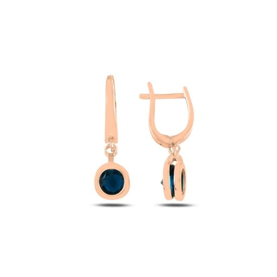 Ürün resmi: Rose Kaplama Safir Zirkon Taşlı Gümüş Sallantılı Küpe