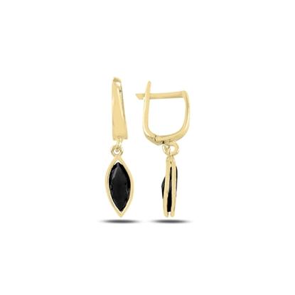 Resim Altın Kaplama Siyah Zirkon Taşlı Gümüş Sallantılı Küpe