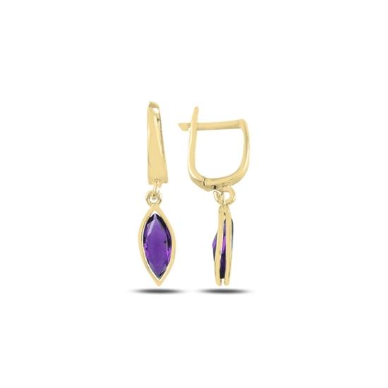 Ürün resmi: Altın Kaplama Ametist Zirkon Taşlı Gümüş Sallantılı Küpe
