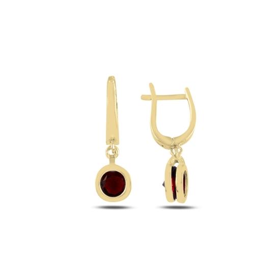 Ürün resmi: Altın Kaplama Garnet Zirkon Taşlı Gümüş Sallantılı Küpe
