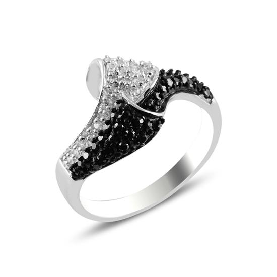 Ürün resmi: Rodyum Kaplama Siyah Zirkon Taşlı Gümüş Bayan Yüzük