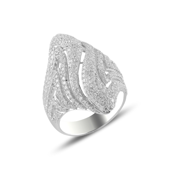 Ürün resmi: Rodyum Kaplama Zirkon Taşlı Gümüş Bayan Yüzük
