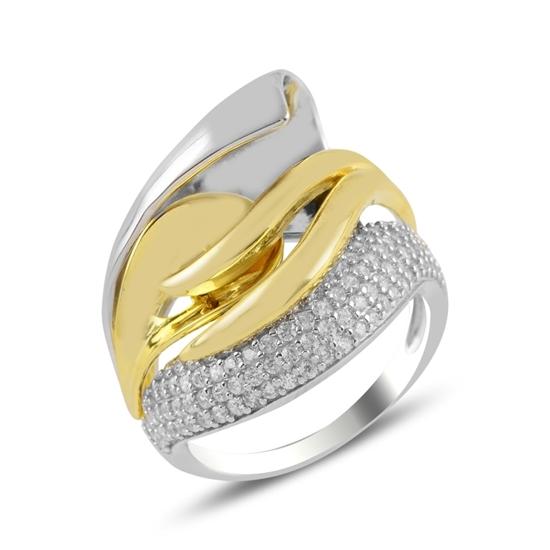 Ürün resmi: Rodyum Kaplama Zirkon Taşlı Çift Renk Gümüş Bayan Yüzük