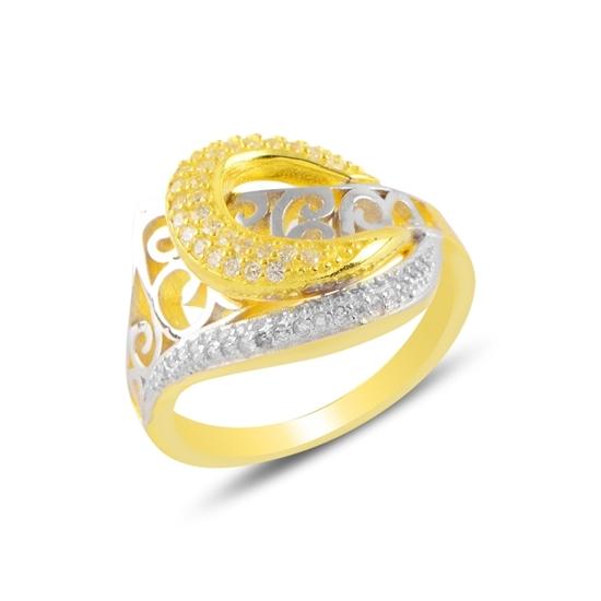Ürün resmi: Altın Kaplama Zirkon Taşlı Çift Renk Gümüş Bayan Yüzük