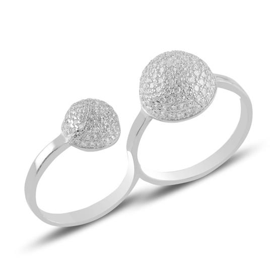 Ürün resmi: Rodyum Kaplama Zirkon Taşlı İki Parmak Gümüş Bayan Yüzük
