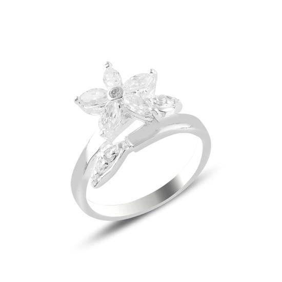 Ürün resmi: Baget Zirkon Taşlı Çiçek Gümüş Bayan Yüzük