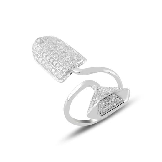Ürün resmi: Rodyum Kaplama Zirkon Taşlı Elmas Şekilli Gümüş Bayan Tırnak Yüzük