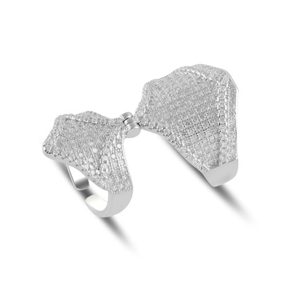 Ürün resmi: Rodyum Kaplama Zirkon Taşlı İkili Gümüş Bayan Yüzük