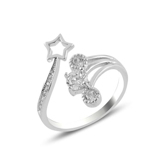 Ürün resmi: Rodyum Kaplama Zirkon Taşlı & Yıldız Gümüş Bayan Yüzük