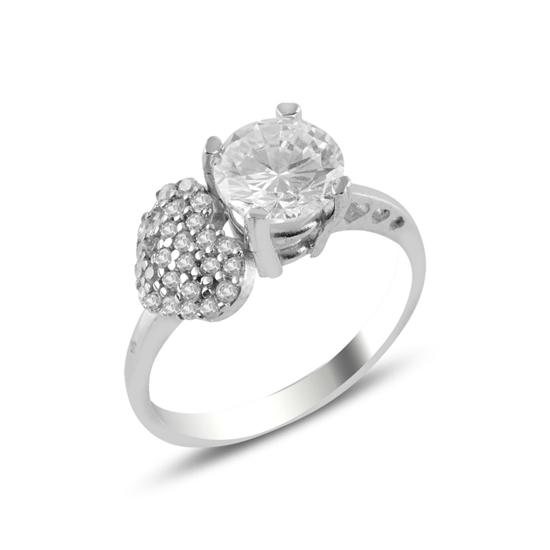 Ürün resmi: Rodyum Kaplama Zirkon Taşlı & Kalp Gümüş Bayan Yüzük