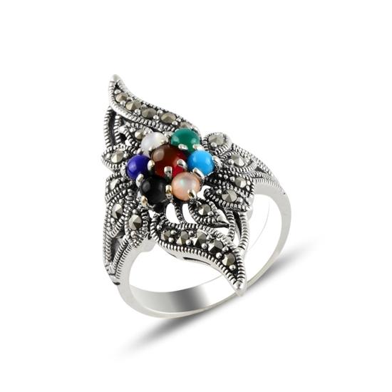 Ürün resmi: Markazit & Karışık Doğal Taşlı Gümüş Bayan Yüzük