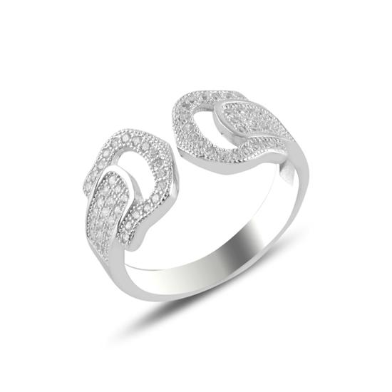 Ürün resmi: Rodyum Kaplama Zirkon Taşlı Ayarlanabilir Boylu Gümüş Bayan Yüzük