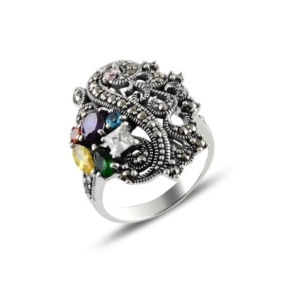 Ürün resmi: Markazit & Renkli Zirkon Taşlı Gümüş Bayan Yüzük