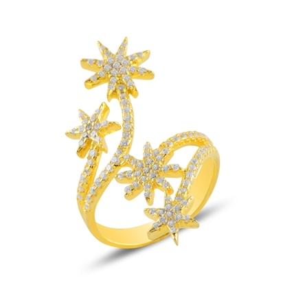 Resim Altın Kaplama Yıldız Zirkon Taşlı Gümüş Bayan Yüzük
