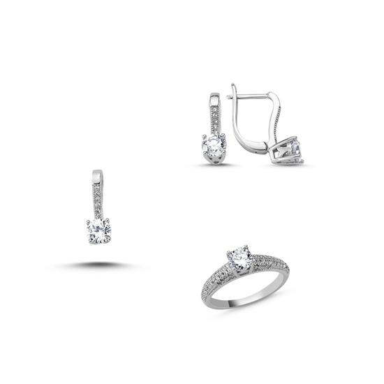 Ürün resmi: Rodyum Kaplama Zirkon Taşlı Gümüş Bayan Set