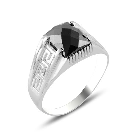 Ürün resmi: Rodyum Kaplama Siyah Zirkon Taşlı Gümüş Erkek Yüzük