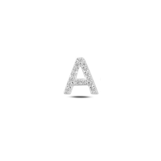 Ürün resmi: Tekli Rodyum Kaplama Beyaz Zirkon Taş -A- Harfi Gümüş Küpe