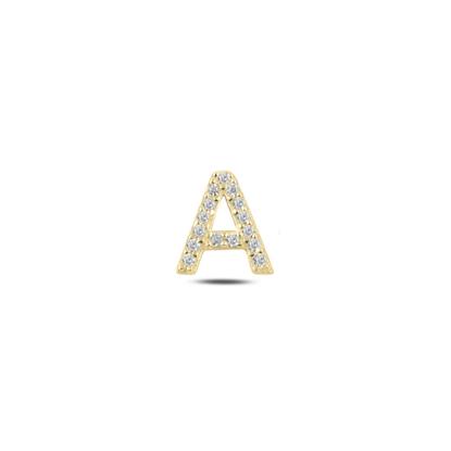Resim Tekli Altın Kaplama Beyaz Zirkon Taş -A- Harfi Gümüş Küpe