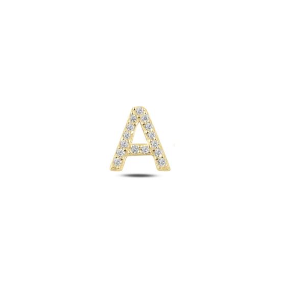 Ürün resmi: Tekli Altın Kaplama Beyaz Zirkon Taş -A- Harfi Gümüş Küpe