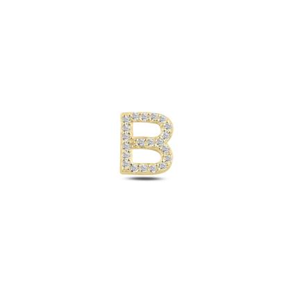 Resim Tekli Altın Kaplama Beyaz Zirkon Taş -B- Harfi Gümüş Küpe