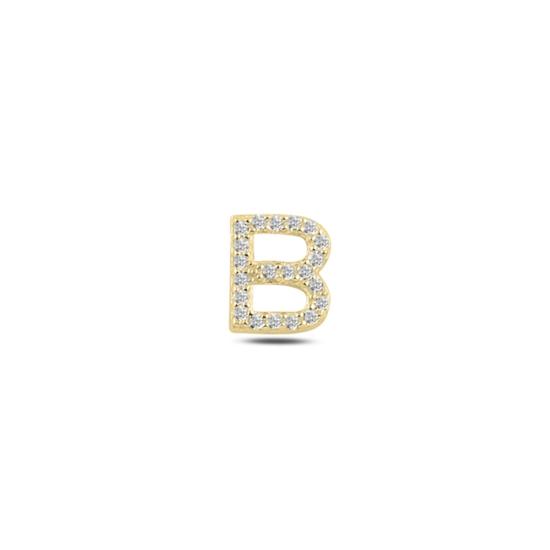 Ürün resmi: Tekli Altın Kaplama Beyaz Zirkon Taş -B- Harfi Gümüş Küpe