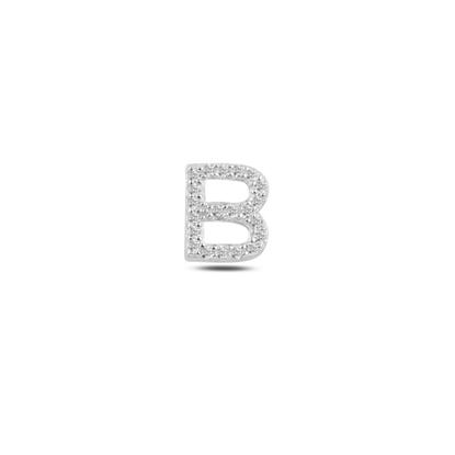 Resim Tekli Rodyum Kaplama Beyaz Zirkon Taş -B- Harfi Gümüş Küpe