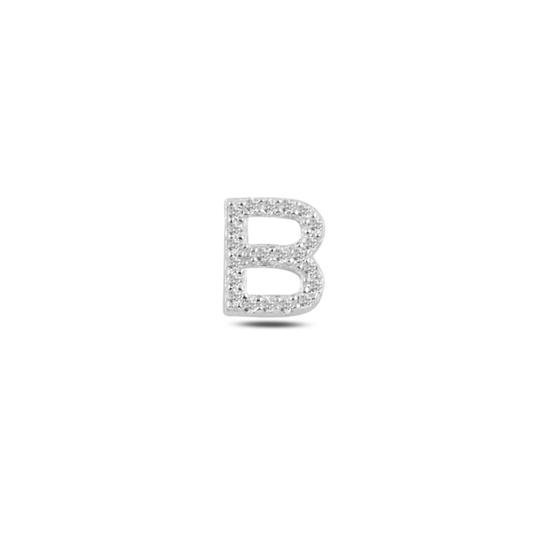 Ürün resmi: Tekli Rodyum Kaplama Beyaz Zirkon Taş -B- Harfi Gümüş Küpe
