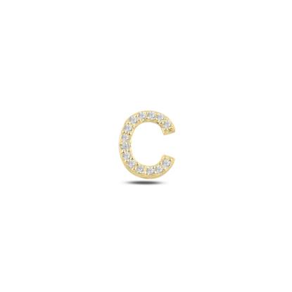 Resim Tekli Altın Kaplama Beyaz Zirkon Taş -C- Harfi Gümüş Küpe