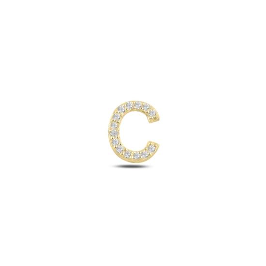 Ürün resmi: Tekli Altın Kaplama Beyaz Zirkon Taş -C- Harfi Gümüş Küpe
