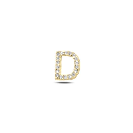 Ürün resmi: Tekli Altın Kaplama Beyaz Zirkon Taş -D- Harfi Gümüş Küpe