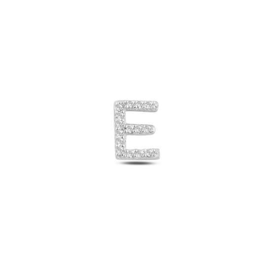 Ürün resmi: Tekli Rodyum Kaplama Beyaz Zirkon Taş -E- Harfi Gümüş Küpe