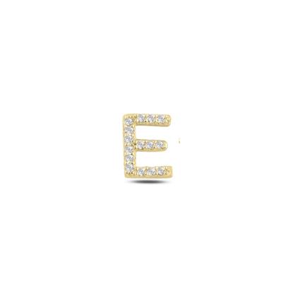 Resim Tekli Altın Kaplama Beyaz Zirkon Taş -E- Harfi Gümüş Küpe