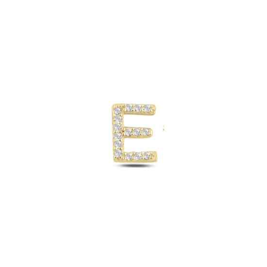 Ürün resmi: Tekli Altın Kaplama Beyaz Zirkon Taş -E- Harfi Gümüş Küpe