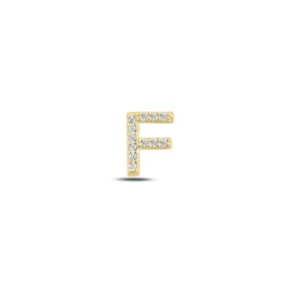 Resim Tekli Altın Kaplama Beyaz Zirkon Taş -F- Harfi Gümüş Küpe